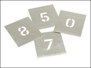"Stencils Set of Zinc Stencils 2"" 50mm Figures Numbers 0 - 9 in Storage Wallet"