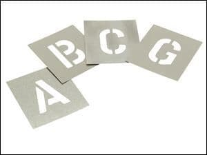 "Stencils Set of Zinc Stencils 2"" 50mm High Letters A - Z in Storage Wallet"