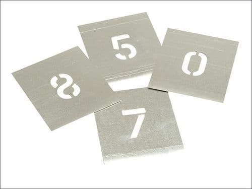 "Stencils Set of Zinc Stencils 3"" 75mm Figures Numbers 0 - 9"