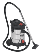 Sealey Vacuum Cleaner Industrial 30ltr 1400W/230V Stainless Bin Auto Start Model No. PC300SDAUTO