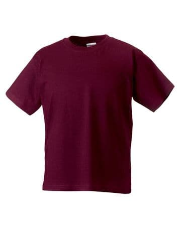 CANISBAY PRIMARY SCHOOL BURGUNDY  T- SHIRT WITH LOGO