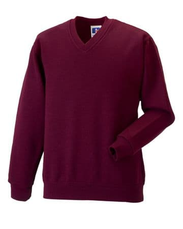 CANISBAY PRIMARY SCHOOL  BURGUNDY  V-NECK SWEATSHIRT WITH LOGO
