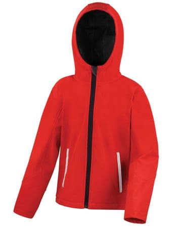 HALKIRK PLAYGROUP CHILDRENS RED HOODED SOFTSHELL WITH LOGO