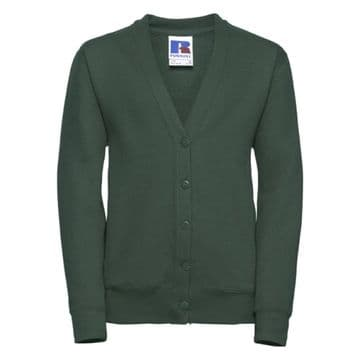 KEISS PRIMARY SCHOOL BOTTLE GREEN CARDIGAN WITH LOGO