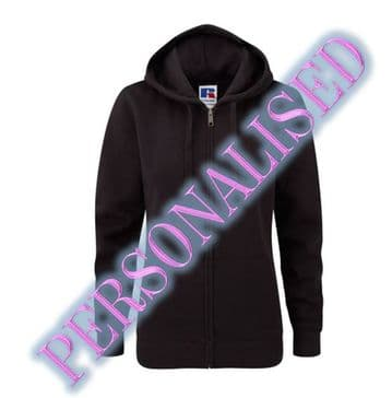 NRG LADIES ZIPPED HOODIE WITH EMBROIDERED LOGO & PERSONALISED