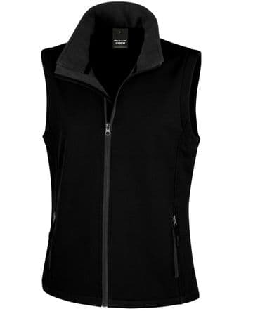 NRG WOMENS SOFTSHELL BODYWARMER WITH EMBROIDERED LOGO