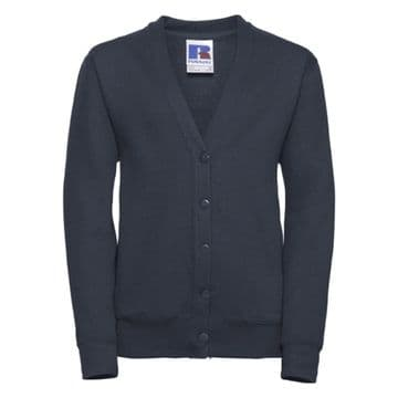 THRUMSTER PRIMARY SCHOOL NAVY CARDIGAN WITH LOGO