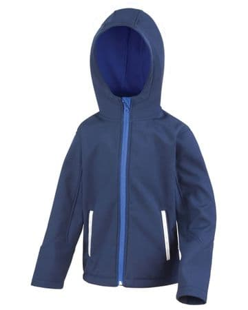 THRUMSTER  PRIMARY SCHOOL NAVY HOODED SOFTSHELL WITH LOGO