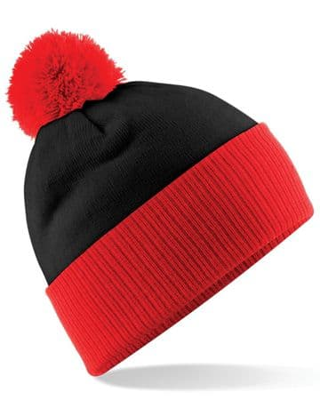 WICK GROATS FC ADULT BEANIE RED WITH EMBROIDERED LOGO