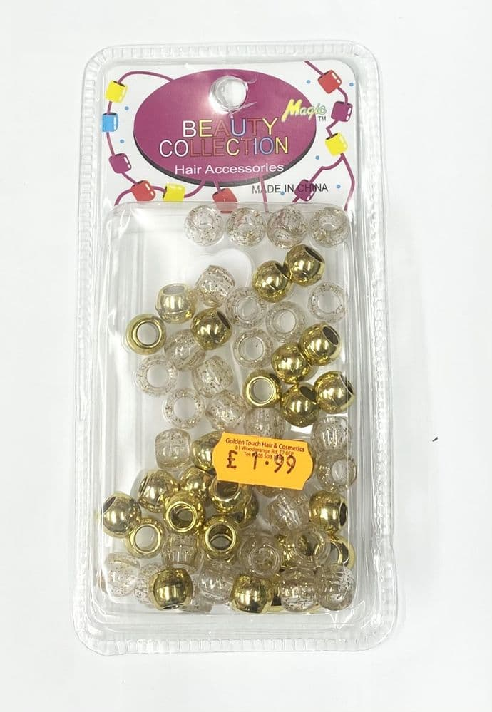 Beauty Collection Hair Beads Glitter Gold