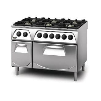 Q90 6 Burner Open Burner Range with Electric 2/1GN Oven and Cupboard LPG Gas Q6CFGEB GN434-P