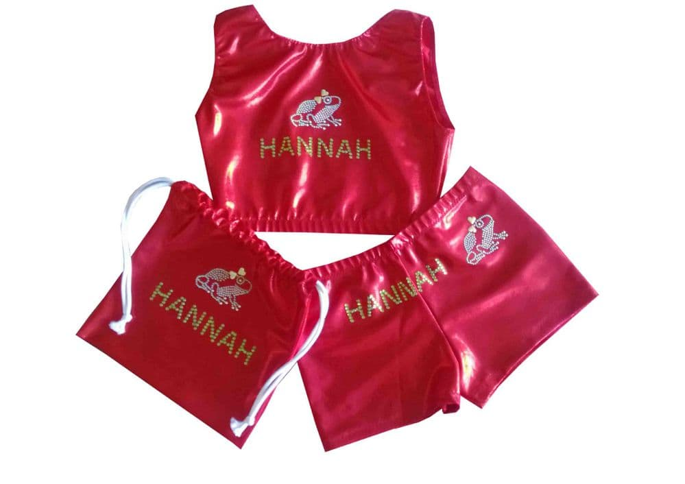 Shorts, Crop Top and Handguard bag with frog diamante motif From £39.95