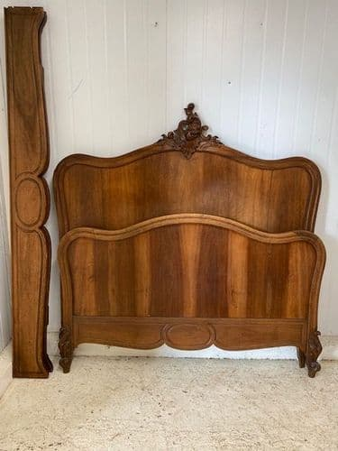 Antique Walnut Double French Bed - a103