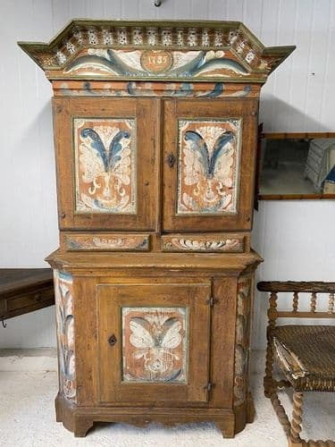 SOLD - 18th Century Swedish Crown Cupboard- Original Painted Detail - ca119