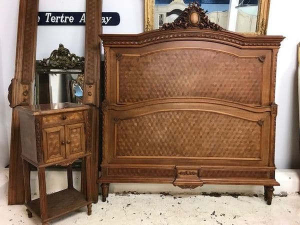 sold - GREAT LOOKING LARGE ANTIQUE  FRENCH  BED - g124