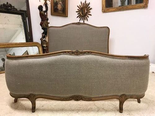 SOLD -Impressive Antique French King Size Bed  - New Upholstery - g190