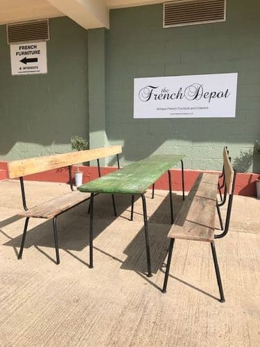 SOLD - Large French  Table  and Bench Set - 3m long - a99