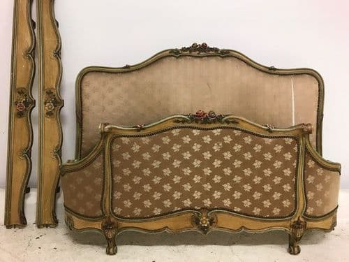 SOLD -Lovely King Size French Bed - Superb original painted detail - ha182