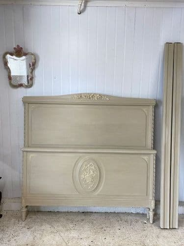 SOLD - Lovely Painted Antique French Bed - hc90 s