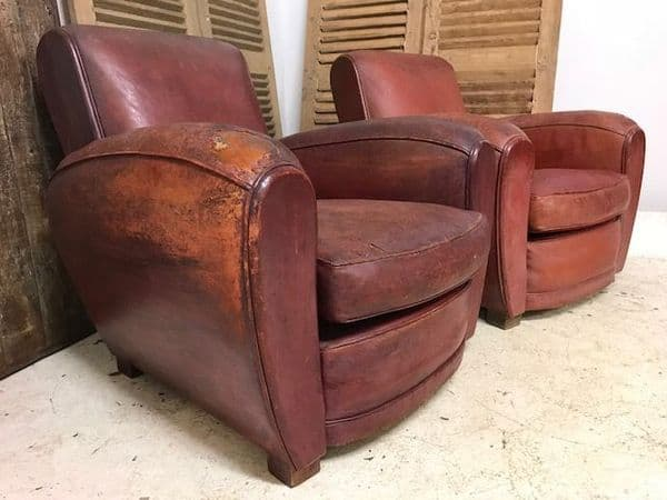 SOLD - Pair of Vintage 30/40s French Leather Club Chairs - Just In - b41