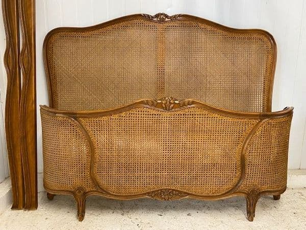 SOLD - Vintage Cane French Double Bed - g111