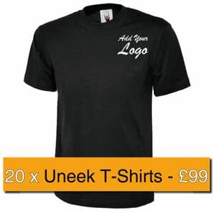 20 x Embroidered Uneek Cotton T- Shirts