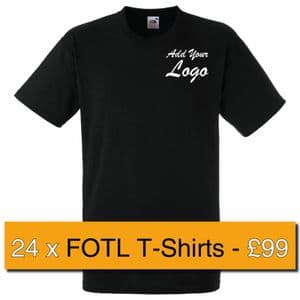 24 x Embroidered Fruit Of The Loom Heavy Cotton T-shirt