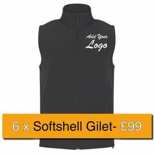 6 x Embroidered RTX Pro 2-Layer Softshell Gilets