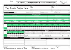 Personalised Oil Firing, Commissioning & Servicing Record