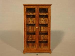 63b. Leaded Glass Bookcase