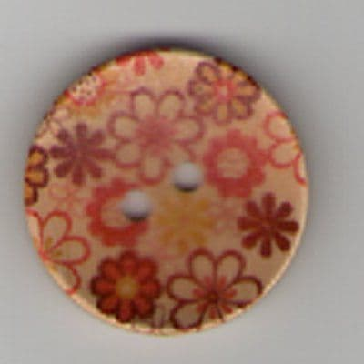 Painted Wooden 2 hole Button B5