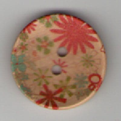 Painted Wooden 2 hole Button B9