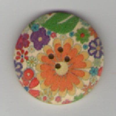 Painted Wooden 4 hole Button B14