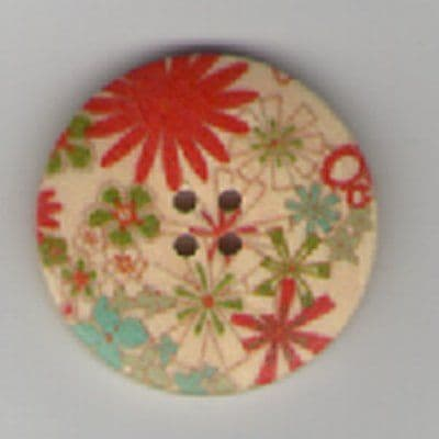 Painted Wooden 4 hole Button B16