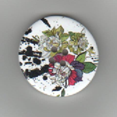 Painted Wooden 4 hole Button B26