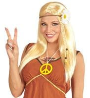 60's 70's Blonde Hippie Wig with Daisy  (04656)