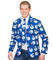 Christmas Jacket & Tie - Blue Snowman (XM4644)