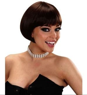 Ladies 20s 30 Short Brown Bob Wig