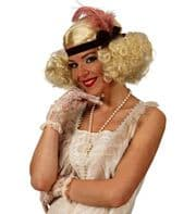 Ladies 20s 30s Blonde Curly Burlesque Wig