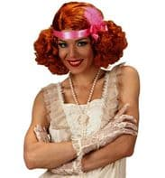 Ladies 20s 30s Red Ginger Curly Burlesque Wig
