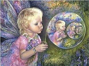"Birthday Card ""Fairy Bubbles"" Birthday Greetings Card by Josephine Wall"