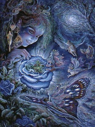 "Birthday Card ""Fantasy in Blue"" Birthday Greetings Card by Josephine Wall (BDG45667)"