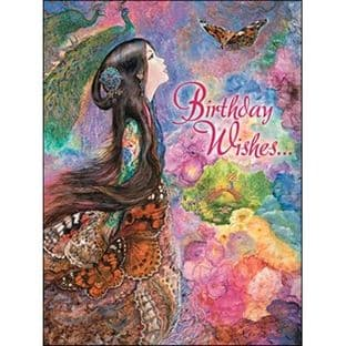 "Birthday Card ""Painted Lady"" Birthday Greetings Card by Josephine Wall"