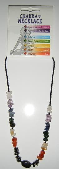 Chakra Necklace - Chunky Chip Gemstone Necklace & Black Beads