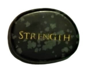 Gemstone Power Stone - Snowflake Obsidian - Strength (Palm/Thumb/Worry Stone)
