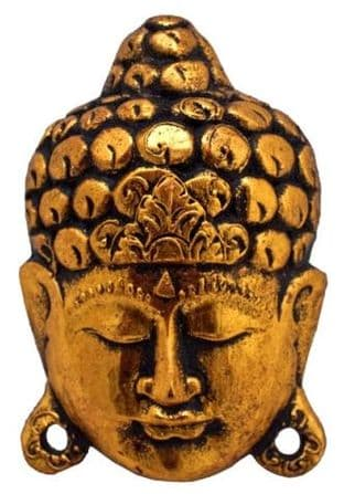 Handcarved Golden Buddha Mask (Small)
