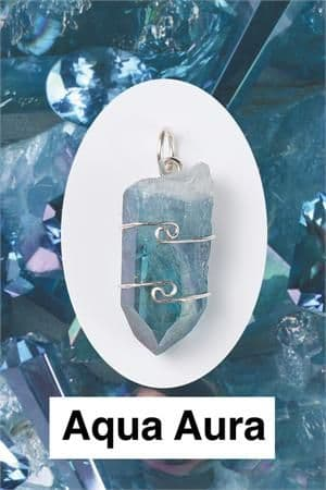 Heaven & Earth's Wired Wrapped Gemstone Pendant: Aqua Aura Quartz