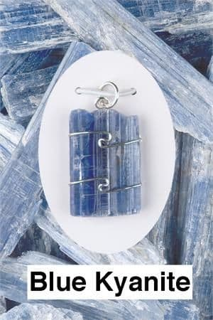 Heaven & Earth's Wired Wrapped Gemstone Pendant: Blue Kyanite (Rough)