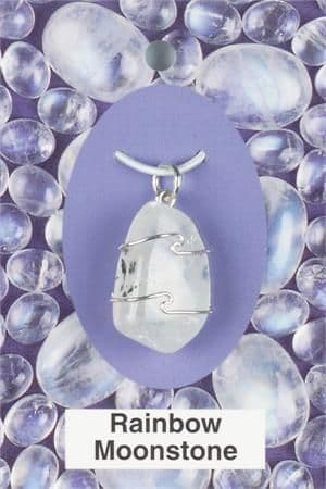 Heaven & Earth's Wired Wrapped Gemstone Pendant: Rainbow Moonstone