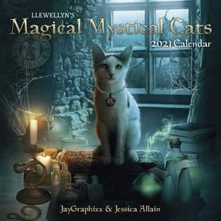 Llewellyn's Magical Mystical Cats Wall Calender 2021 by Jessica Allain & Jay Graphixx